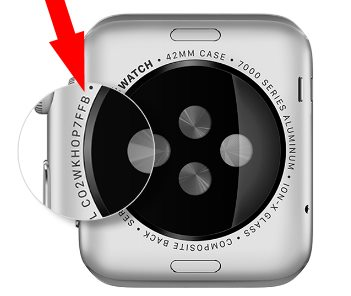 Apple watch serial number on back body