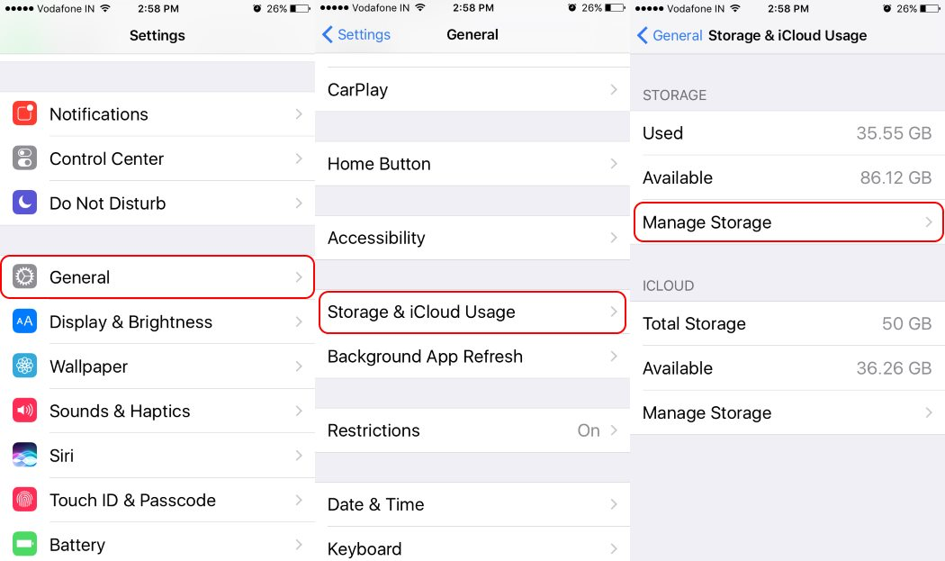 3 Then The First Section For Local Storage Data Information Tap On Manage