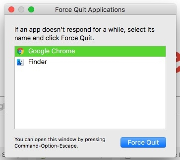 Select frozen app and quit
