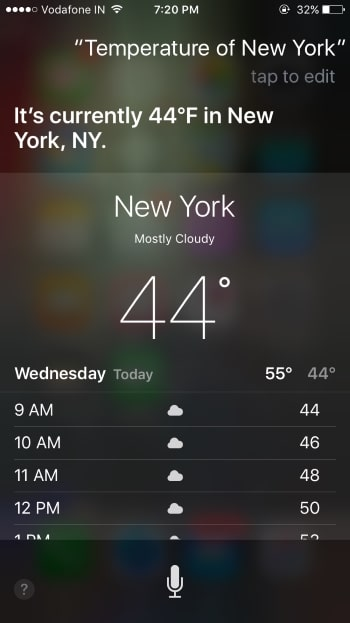Ask temperature to siri on iPhone or iPad