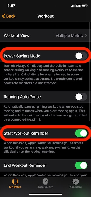 Disable Power Saving Mode and Enable Workout Reminder
