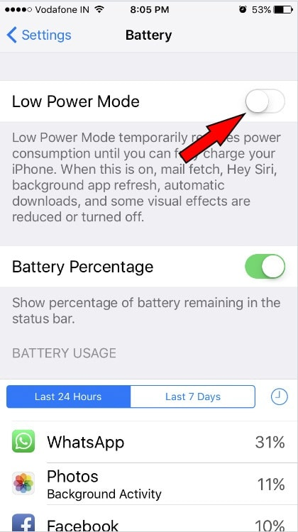 make sure Low Power Mode is disabled on your iPhone