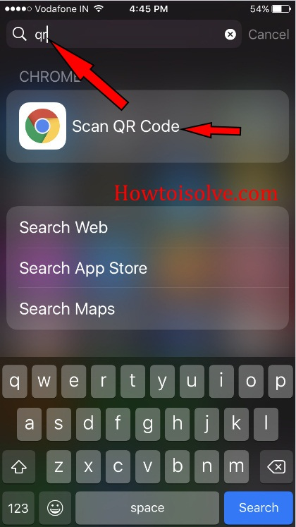 swipe down from the half of the iPhone screen Spotlight search bar
