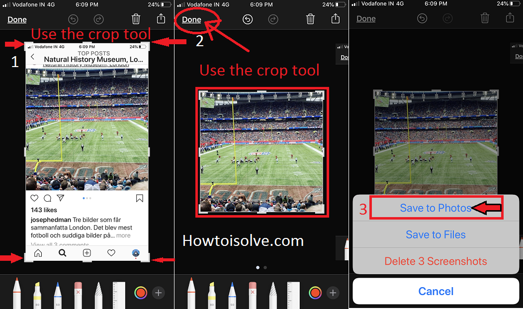 use crop tool to edit image and tap done to save into camera roll instagram on iPhone