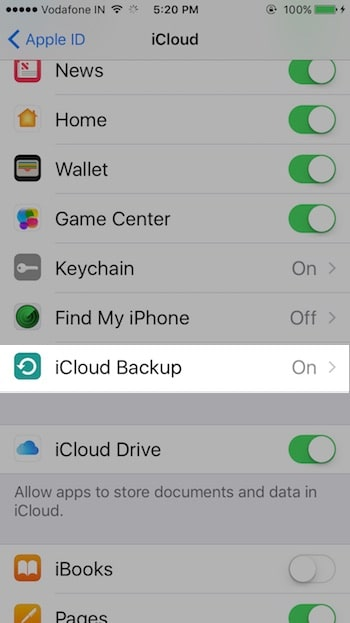 1 Backup turn on option in iPhone and iPad