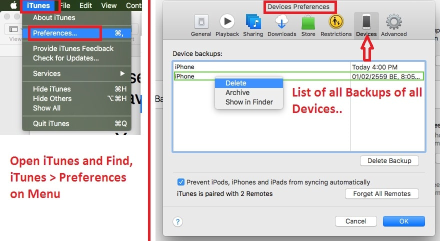 1 FInd iTnes Preferences for fild old backup using iTunes