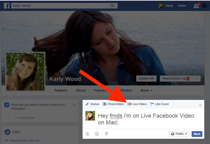 2 Find live video facebook on Mac or PC