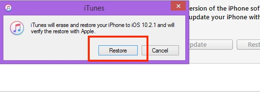 2 Start restore in iPhone