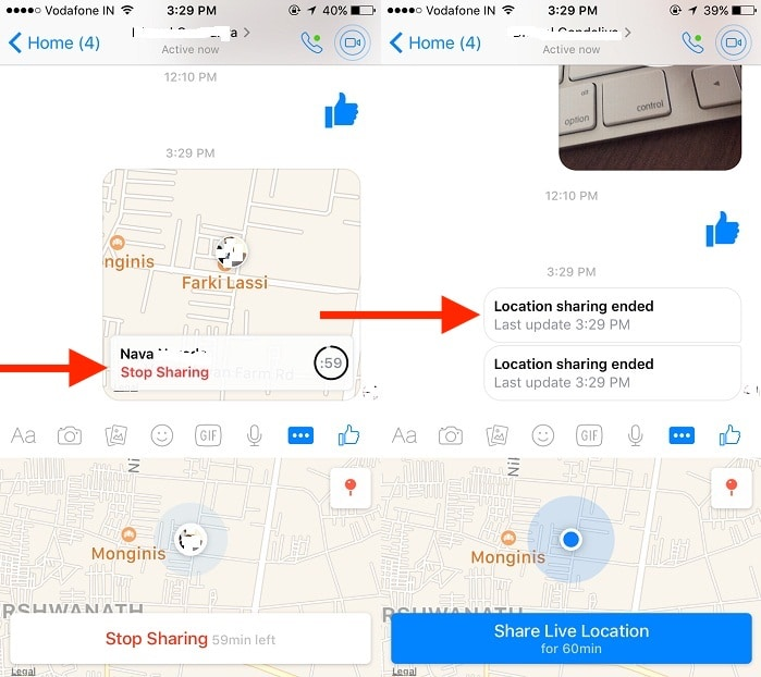 3 Stop live location on Messenger from iPhone or iPad