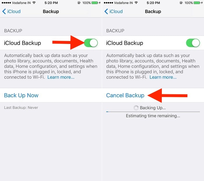 3 start backup on iphone