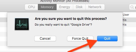 Force Quite running application from Activity manager on Mac