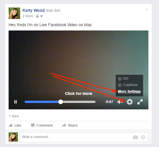 6 Find more settings option for Published video from facebook timeline