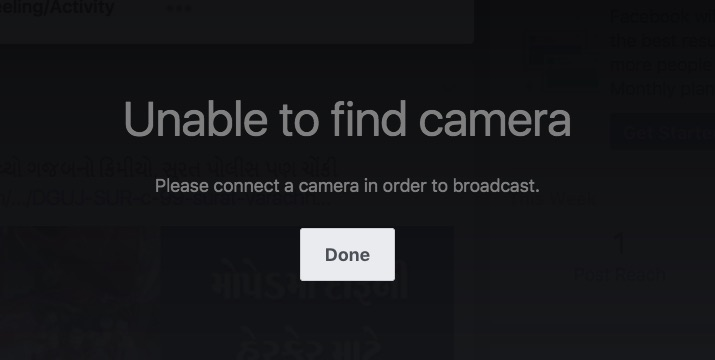 8 Unable to find camera on Facebook live on Mac or PC