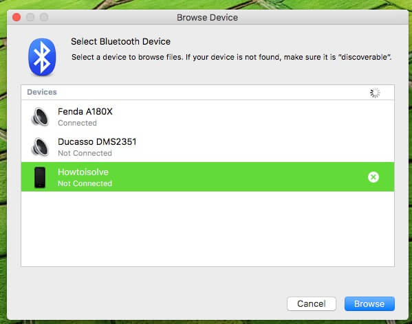 Browse Bluettoth Device manually on Mac