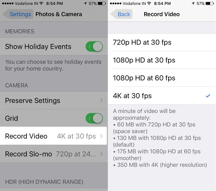 Change Camera Resolution for Video on iPhone 6S: 6S Plus or later
