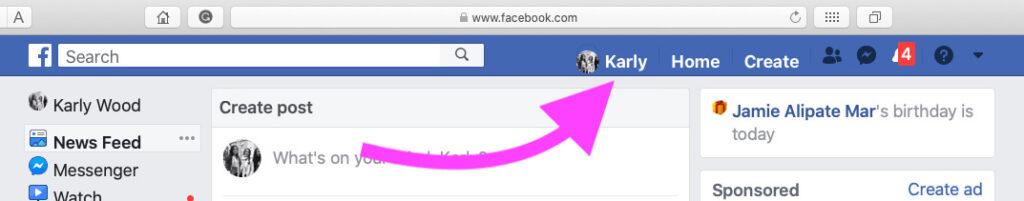 Facebook profile on Facebook mac