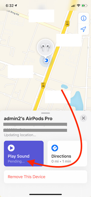 Pending Sound for AirPods on Find My iPhone app