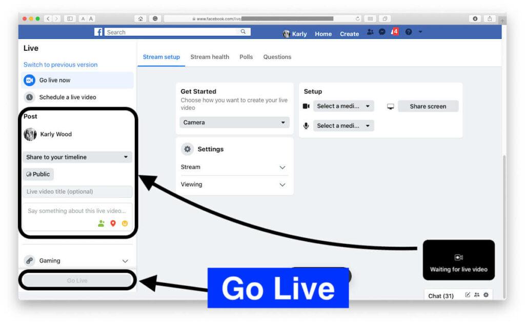 Prepare Before go live on Facebook