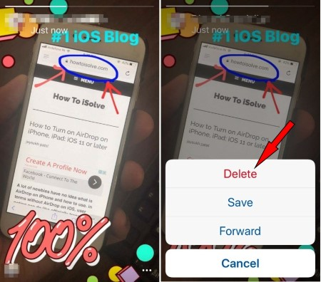 Save Delete or Forward Facebook Messanger day to other on iPhone iOS App 1