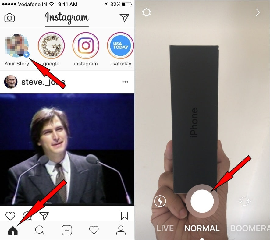 tap on instagram Home icon to Use Geostickers in Instagram Stories on iPhone