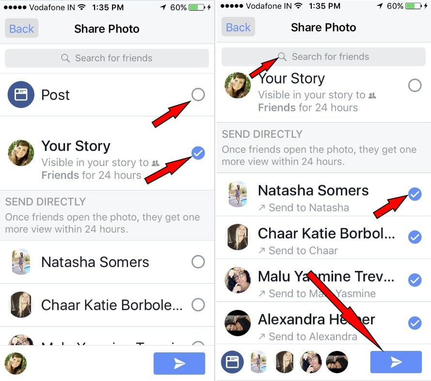 Share facebook stories to your friends, facebook group on iPhone