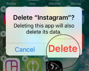 Tap on Delete Instagram App on iPhone