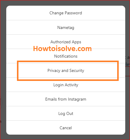click on privacy and security on Instagram web on PC computer mac