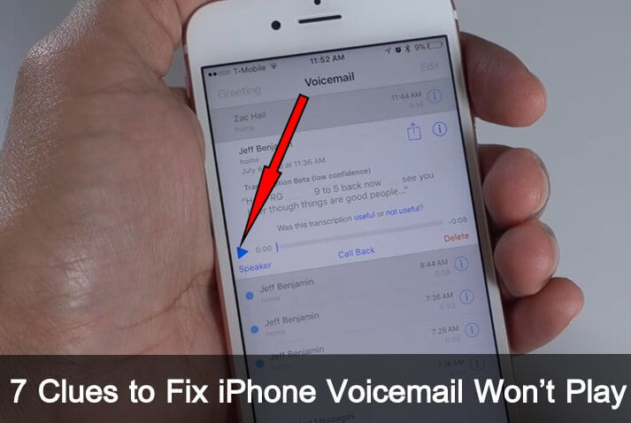 how to fix iPhone Voicemail Won't Play after iOS 10 updating