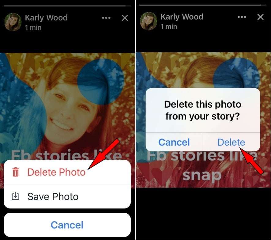Tap Delete Photos from FB Stories