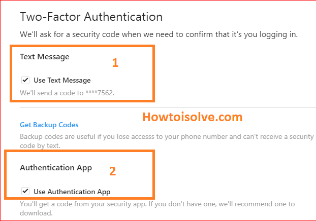 use code messege on sms or authentication app to two factor authentication for Instagram on mac PC computer