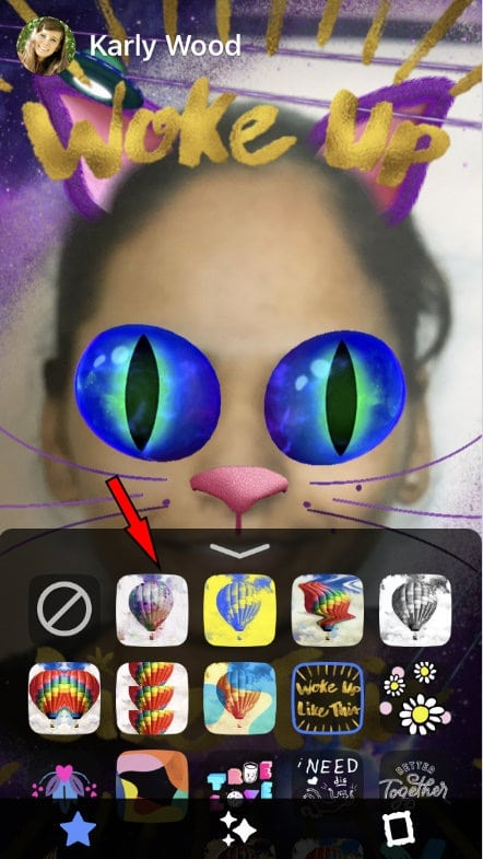 Choose mask and apply to your picture or video of FB stories