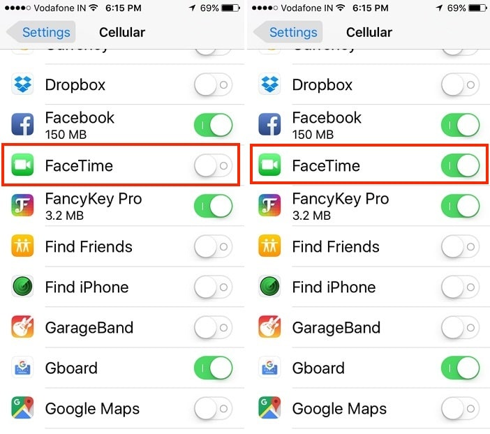 2 FaceTime Restriction enable in iPhone settings