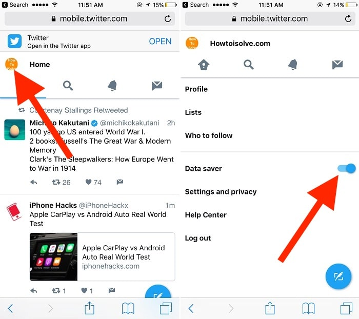 2 Find settings for Twitter lite on iPhone iPad