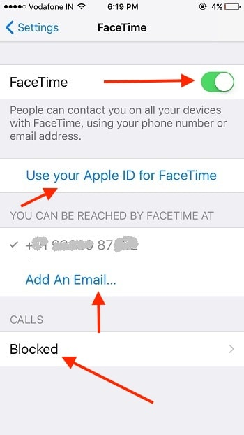 3 All FaceTime settings in iPhone