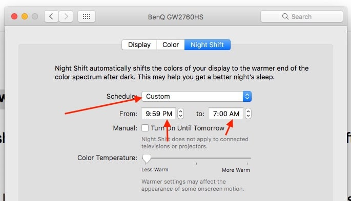 4 Custom settings for night shift mode on Mac