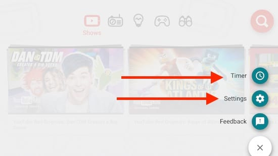 4 Settings inside YouTube Kids app