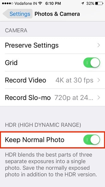 Enable HDR for photo iphone 7