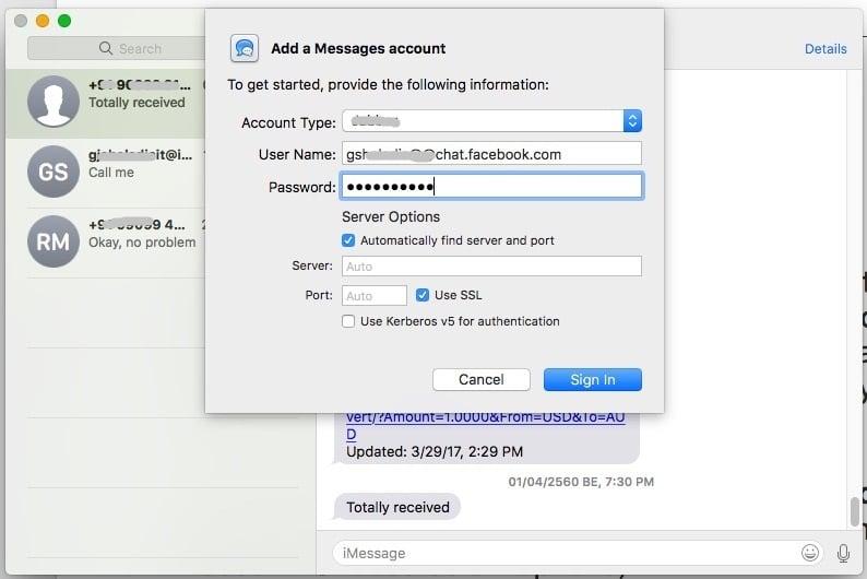 Facebook Messenger in iMessage