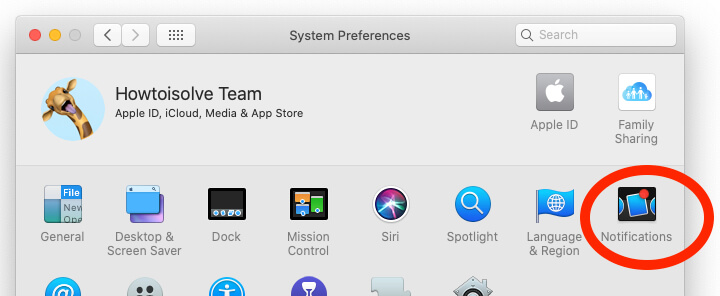 Notification settings on Mac System Preferences