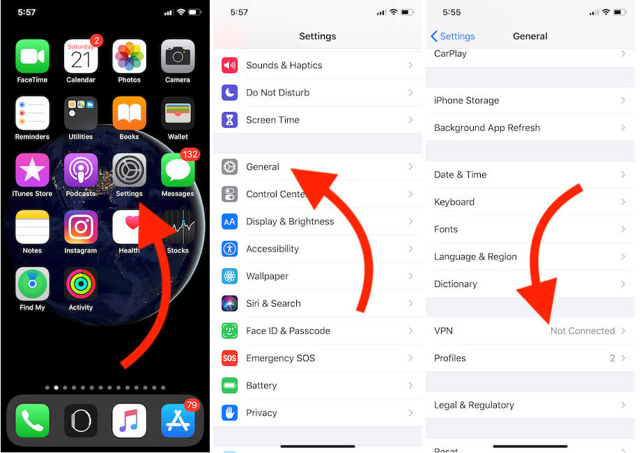 Turn off VPN on iPhone settings