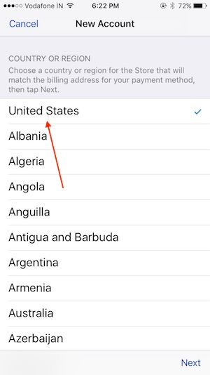 1 1 Choose country US in Create a apple ID