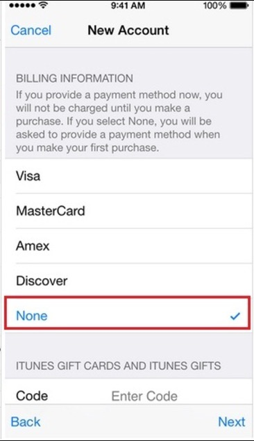 1 5 Select not option in Apple ID payment info