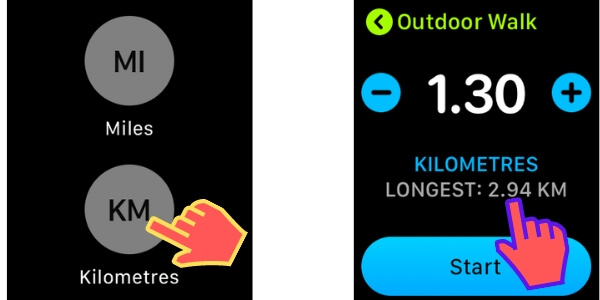 Switch Distance between KM or Mile On Apple Watch for Run and Walk