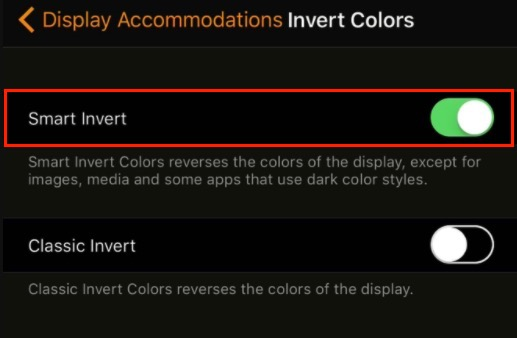 3 Enable Smart Invert on iPhone and iPad