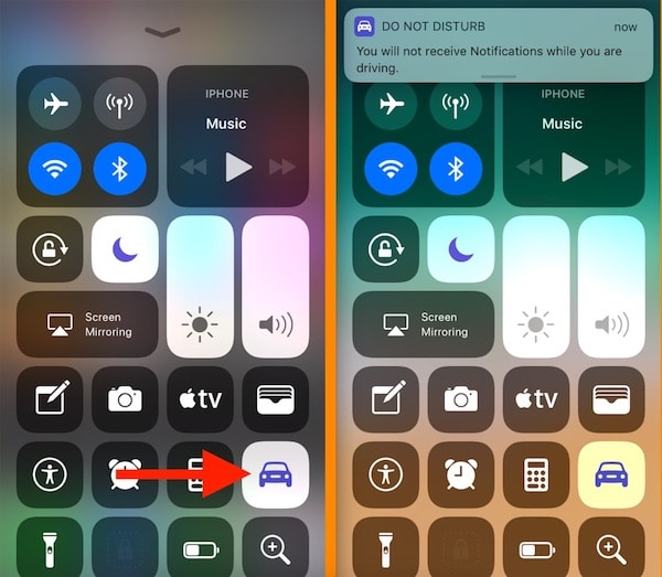 3 Turn on Driving mode from control center