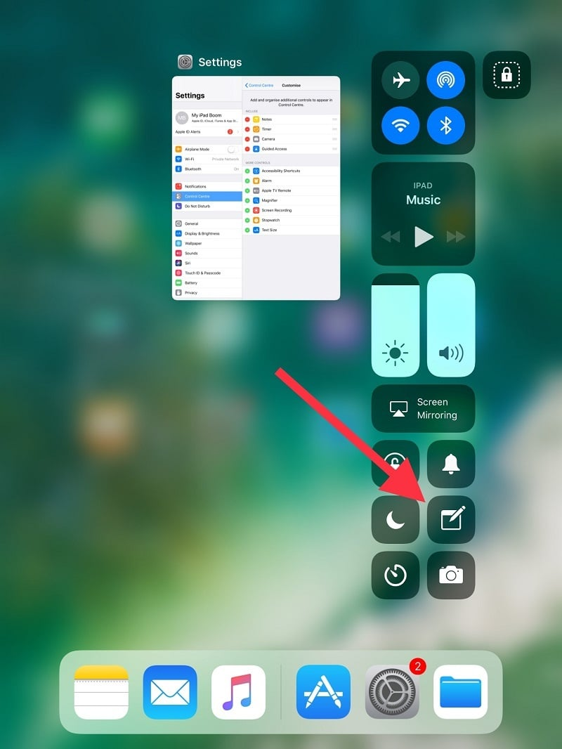 Add Notes in Control Center on iPad Air iPad Pro in iOS 11