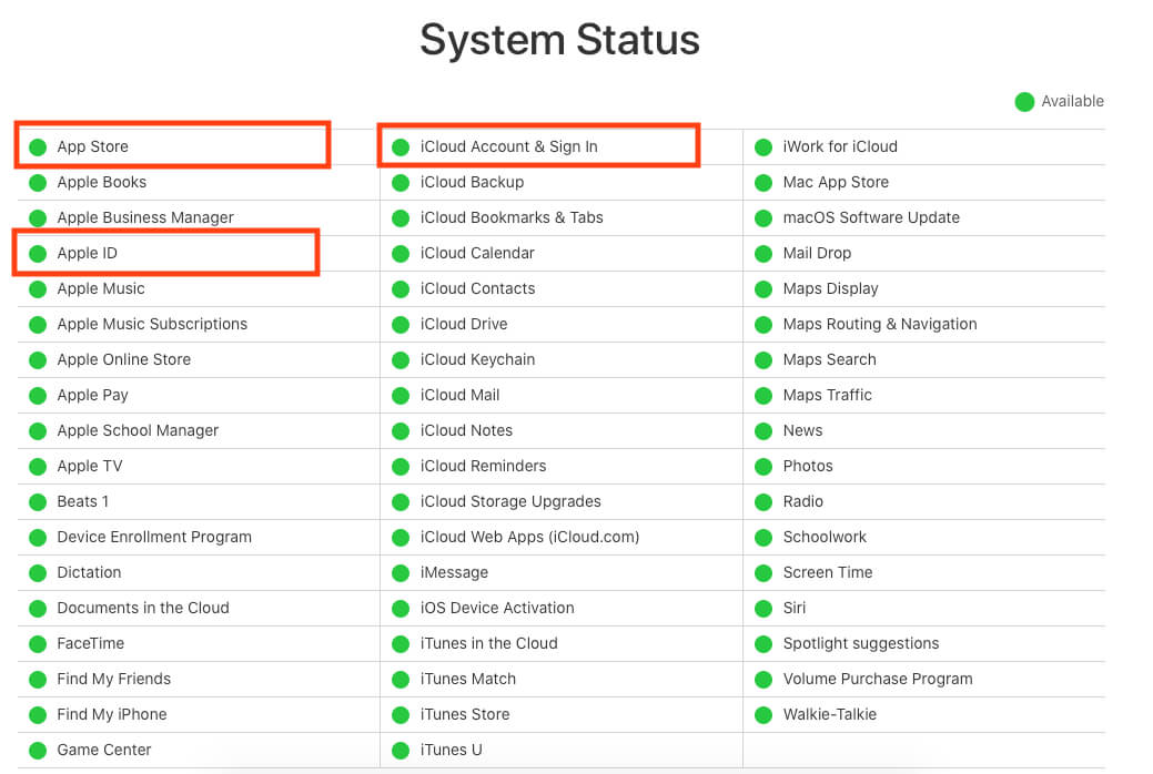 Apple Server Status for App Store