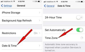 Check Date and Time Zone on iOS 11 later iPhone iPad