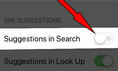 turn off toggle Siri App Suggestions in iOS 11 on iPhone