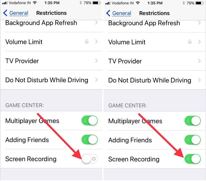 iOS 11 screen recording restrictions screen on iPhone iPad